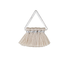 Natural Small Fanned Tassel on Triangle Ring w/ Silver Finish 15x23mm