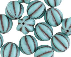 Czech Glass Matte Light Turquoise w/ Chocolate Melon Round 12mm