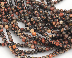 Mexican Red Snowflake Jasper Round 4mm