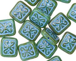 Czech Glass Turquoise Picasso w/ Aqua Ornamental Rectangle 11x12mm