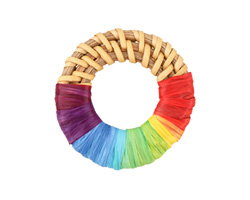 Rainbow Raffia Wrapped Natural Rattan-Style Woven Ring Focal 39-42mm