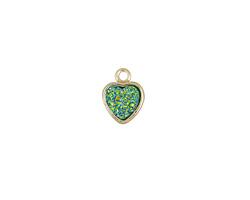 Metallic Green Turquoise Crystal Druzy Heart Charm in Gold Finish Bezel 8x10mm