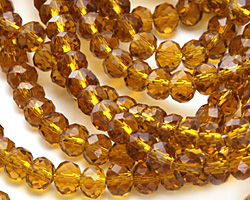 Topaz Crystal Faceted Rondelle 6mm