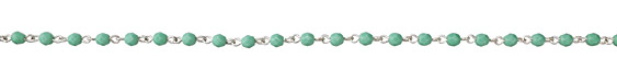 Czech Fire Polished 4mm Opaque Turquoise Faceted Round Silver (plated) Bead Chain