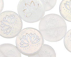 Czech Glass Matte AB Crystal Lotus Coin 18mm