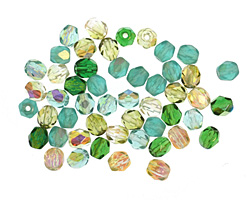Czech Fire Polished Glass Green Mix Round 4mm