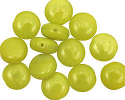 Czech Glass Chartreuse Puff Coin 10mm