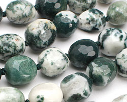 Tree Agate Faceted Nugget 13-15x11-13mm