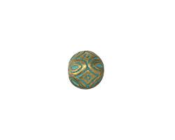Zola Elements Patina Green Brass Floral Diamonds Round 11mm