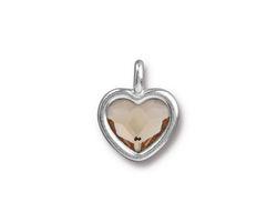 TierraCast Rhodium (plated) Heart Charm w/ Light Silk Crystal 13x16mm