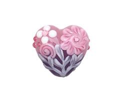 Grace Lampwork Light Pink Flower w/ Purple Heart 19-20mm