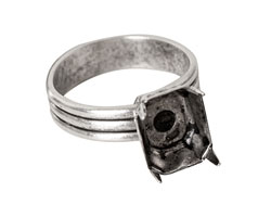 Nunn Design Antique Silver (plated) Small Rectangle Prong Setting Adjustable Ring 8x10mm