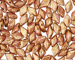 Opaque Rose Gold Topaz Luster GemDuo 8x5mm Seed Bead