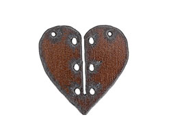 The Lipstick Ranch Rusted Iron Heart w/ Holes Pendant 42mm