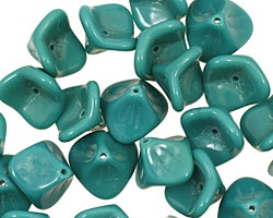 Czech Glass Turquoise 3 Petal Bellflower 9x11mm