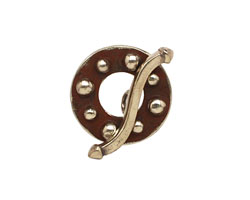 Saki White Bronze Bumpy Toggle Clasp 18mm, 24mm bar