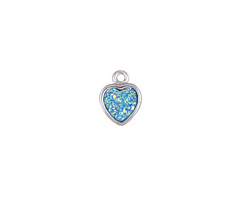Metallic Aqua Crystal Druzy Heart Charm in Silver Finish Bezel 8x10mm