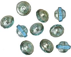 Czech Glass Beach Glass w/Silver Luster UFO 7x9mm
