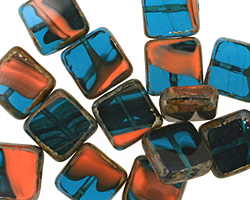 Czech Glass Poolside Square 10mm