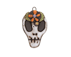 Gaea Ceramic Day of the Dead Skull Daisy Pendant 29-30x47-48mm