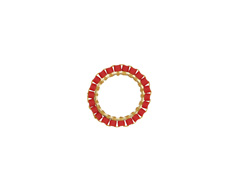 Pepper Red Miyuki Delicas Woven on Gold (plated) Stainless Steel Ring 15mm