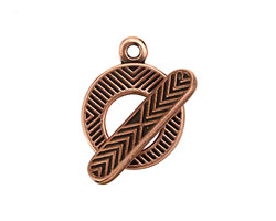 Antique Copper (plated) Chevron Toggle Clasp 24x28mm, 28mm bar