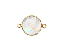 Moonstone (rainbow) Faceted Coin Link in Gold Vermeil 21x15mm