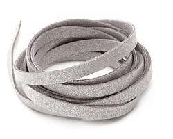 Silver Metallic Microsuede Flat Cord 7mm