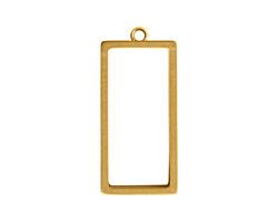 Nunn Design Antique Gold (plated) Large Open Rectangle Frame Pendant 13x31mm