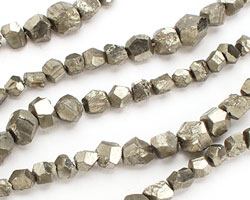 Golden Pyrite (silver tone) Graduated Faceted Rough Nugget 4-14mm