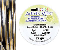 Artistic Wire MultiColor Silver/Gold/Black 22 Gauge, 6 Yards
