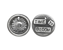 "The Lipstick Ranch Pewter ""Time To Bloom"" Sunflower Wax Seal Charm 20mm"