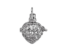 Silver Finish Filigree Heart Diffuser Locket 24x35mm