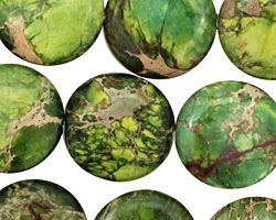 Green Impression Jasper Puff Coin 18mm