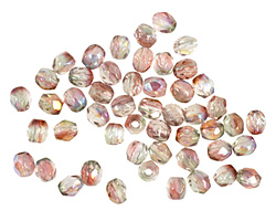Czech Fire Polished Glass Luster Pink/Crystal AB Round 3mm