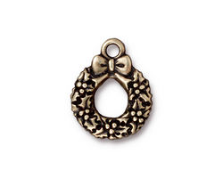 TierraCast Antique Brass (plated) Wreath Charm 16x20mm