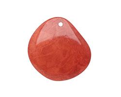 Tagua Nut Rhubarb Groovy Slice 25-35x30-42mm