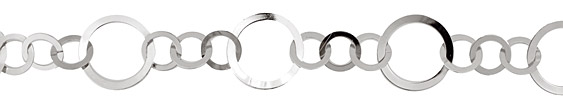 Silver (plated) Flat Small & Large Ring Chain