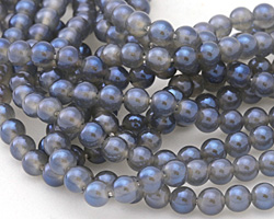 Opalite (glass) w/ Montana Blue Luster Round 6mm
