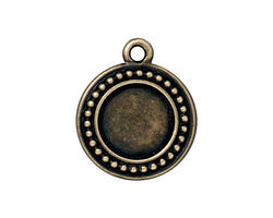TierraCast Antique Brass (plated) Beaded Round Frame Drop 20x23mm
