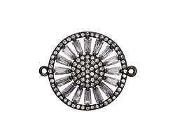 Vintage Style Clear Pave CZ Gunmetal (plated) Sunflower Coin Focal Link 25x21mm
