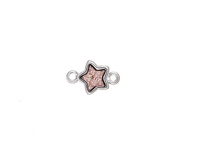 Metallic Bronze Crystal Druzy Star Link in Silver Finish Bezel 12x8mm