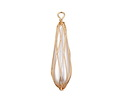 Pearly White Shell Pearl Gold Finish Wire-Wrapped Drop Pendant 10x39-40mm