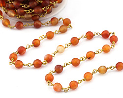 Carnelian (natural-matte) Faceted Round 6mm Brass Bead Chain