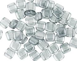 CzechMates Glass Luster Transparent Blue 2-Hole Tile 6mm