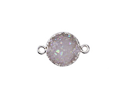 Druzy w/ AB Luster Coin Focal Link w/ Silver Finish 23x15mm
