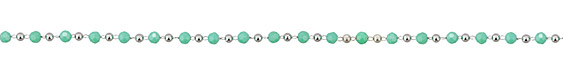Turquoise Crystal & Imitation Rhodium (plated) Rounds Bead Chain