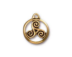 TierraCast Antique Gold (plated) Small Triskele Charm 15x19mm