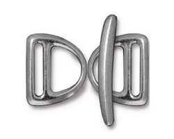 TierraCast Antique Pewter (plated) Slotted D Ring Clasp Set 17x20mm, 30mm bar