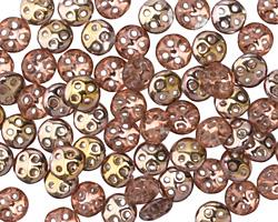 CzechMates Glass Apollo Gold 4-Hole QuadraLentil 6mm